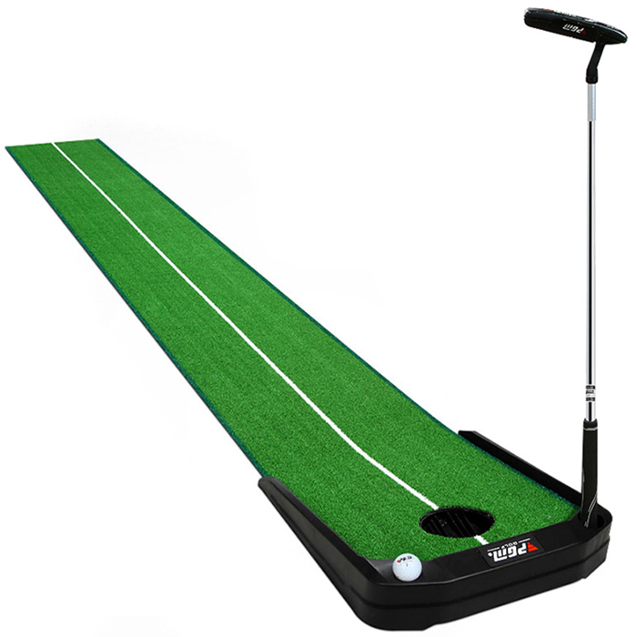 Hillman PGM 3m Golf Putting Trainer Artificial Turf with Electronic Ball Return